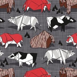 Normal scale // Origami cattle friends // charcoal linen texture background red brown grey black and white geometric ox bulls and cows