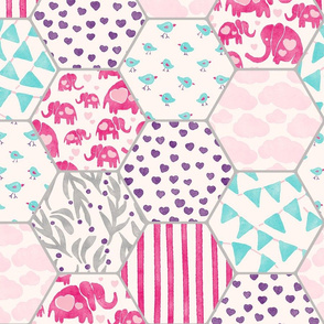 Patchwork Watercolor Pink Elephants Seamless Pattern