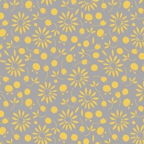gray and yellow folk flat floral - small scale