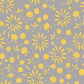 gray and yellow folk flat florals - medium scale