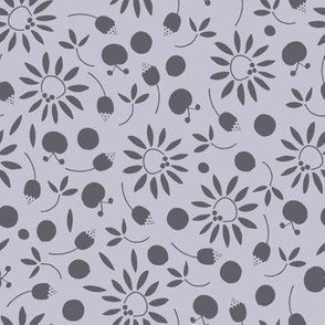 carbon and cool gray folk flat floral - medium scale