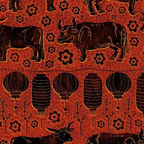 Ox and lanterns