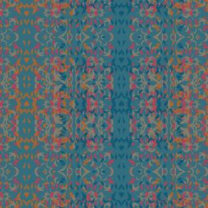Colourful Wavy Leaves Pattern - Sienna_ Rose_ Khaki _ Peacock Blue by artestreestudio