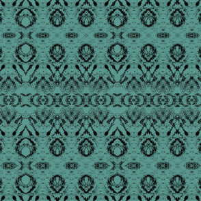 Japaneses Art - black pattern on teal by artestreestudio