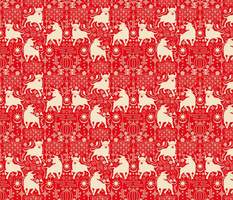 Ox Deco Ornamental Red Pattern