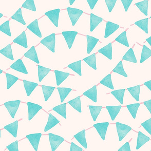 Watercolor Teal Pennant Banners Seamless Pattern