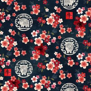 Chinese year of the ox red flowers