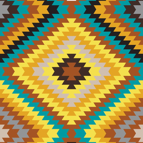 Modern Kilim - yellow, copper and peacock.