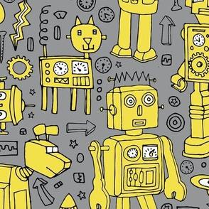 Robot pattern - Illuminating yellow on grey