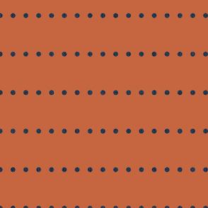 orange with navy dots