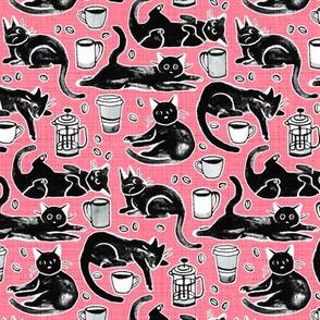 Black Cats & Coffee on Strawberry Pink - Medium Scale