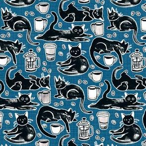 Black Cats & Coffee on Navy Blue - Medium Scale