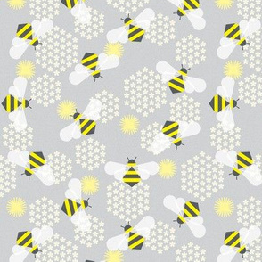 bees in yellow and grey