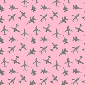 Grey on coral airplanes - watercolor planes