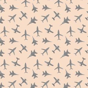 Grey airplanes on cream - watercolor planes