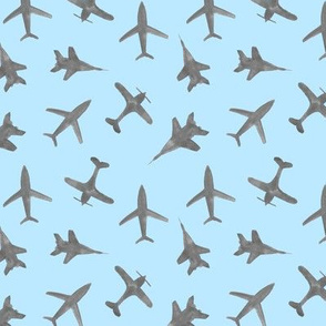 Grey airplanes on baby blue - watercolor gray planes travel inspired baby boy