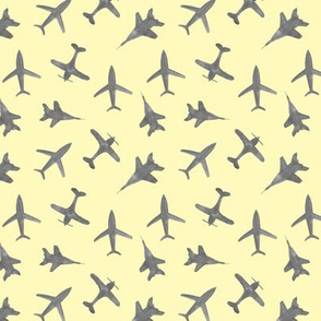 Grey airplanes on yellow - trendy watercolor planes for modern nursery