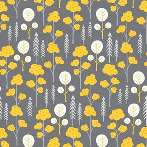 Gray Yellow Woodland Forest Trees Small