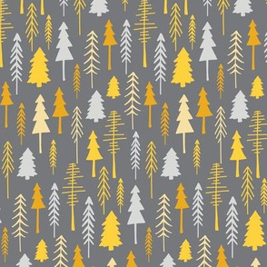 Gray Yellow Woodland Forest Pine Trees Small