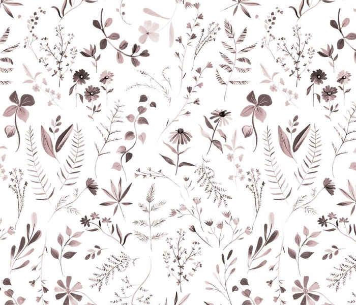 Flowers for Emma - jumbo, watercolor floral in Mauve and Gray