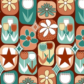 Mid Century Modern Flowers // Tulips, Daisies, Stars // Terra Cotta, Clay, Peach, Burgundy, Red Wine, Teal, Evergreen, Seafoam Green, Pale Yellow, White // V8