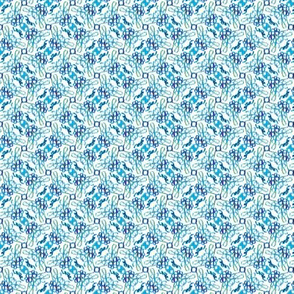 Floral ikat scribbles -- in summer blues and greens