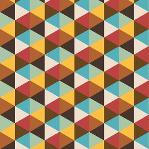 Retro 70s geometrics multicolor hexagons large Wallpaper