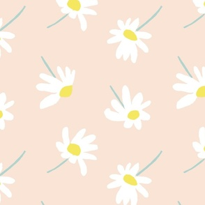 """WHITE DAISIES ON PINK 12"""""""