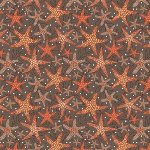 starfish pattern design on brown with dots