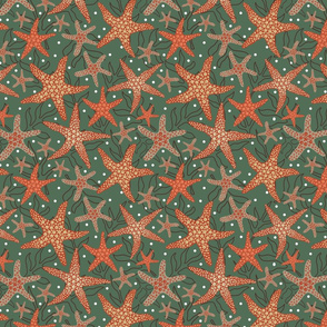 starfish pattern design on green with dots