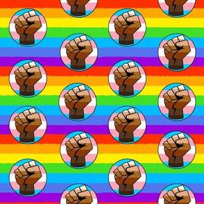 Black LGBT Rainbow Fist Flag