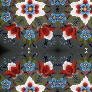 Norwegian Rosemaling Christmas tulips red white blue