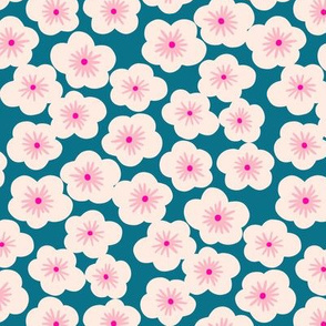 Japanese cherry blossom M in teal pink by Pippa Shaw