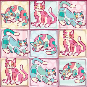 Patchwork Cats Warm Tones Blanket Size