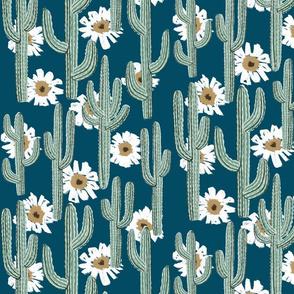 Saguaro Layered Floral - Deep Cyan