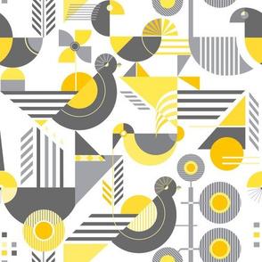 Bauhaus style birds yellow gray