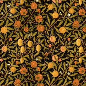 Fruit ~ William Morris ~ Citrus on Black ~ Wee