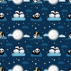 Panda bears among the stars blue