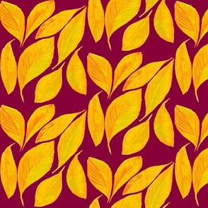 Golden Autumn Leaves Tossed by the Breeze on Raspberry - Small Scale