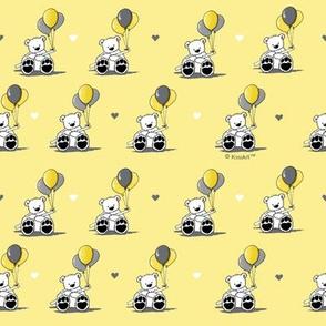 KiniArt Balloons Bear Pantone Yellow & Gray