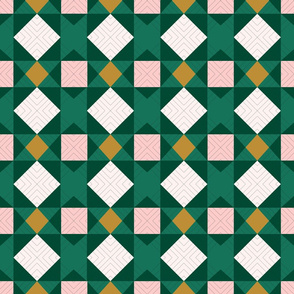 Green and Pink Faux Quilt