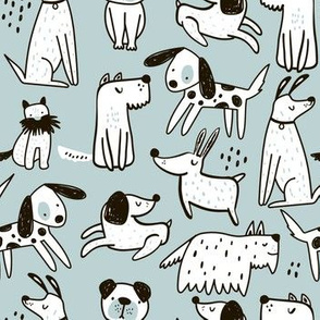 Hand drawn funny dogs