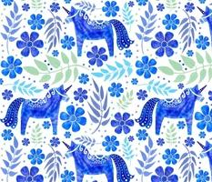 Dala Unicorns in Blue Watercolor - Large Scale