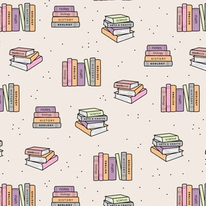 Back to school piles of books reading teacher classroom design pale lilac pink girls
