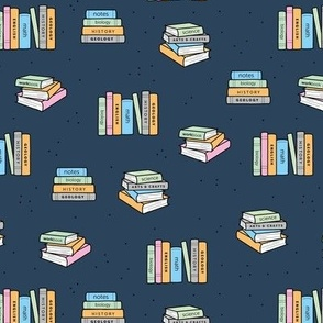 Back to school piles of books reading teacher classroom design navy blue green neutral