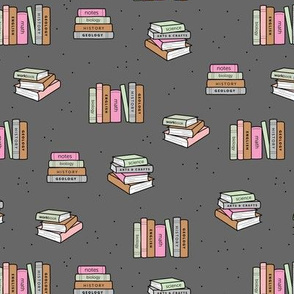 Back to school piles of books reading teacher classroom design gray pink mint girls
