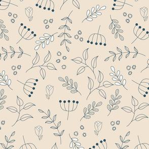 Flower doodle beige