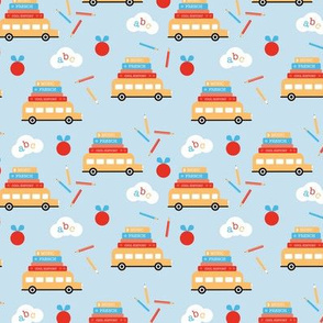 Piles of books and school busses and pencils back to school teacher design blue red yellow