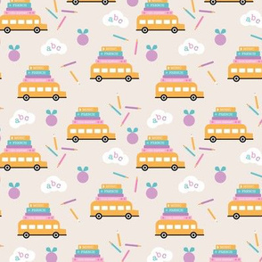 Piles of books and school busses and pencils back to school teacher design pale yellow lilac pink girls