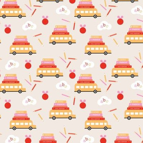 Piles of books and school busses and pencils back to school teacher design beige yellow red